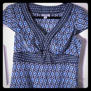 Ann Taylor top; cap sleeves and empire waist, Sz 4